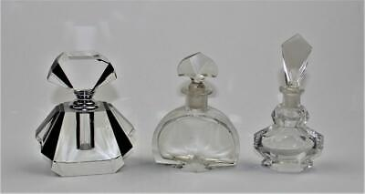 Collection Of 3 Vintage/Antique Cut Glass/Crystal Perfume Bottle And Sculpture