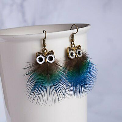 2019 Design Owl Peacock Feather Hook Drop Dangle Earring Statement Jewelry Gift