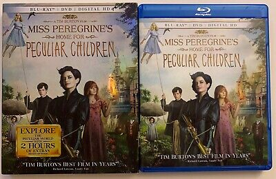 Miss Peregrines Home For Peculiar Children Blu Ray Dvd 2 Disc + Slipcover Sleeve