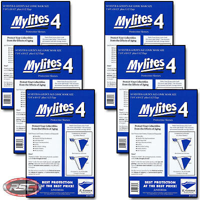300 - E. GERBER MYLITES 4 SILVER & GOLDEN AGE Mylar Comic Bags Sleeves 775M4