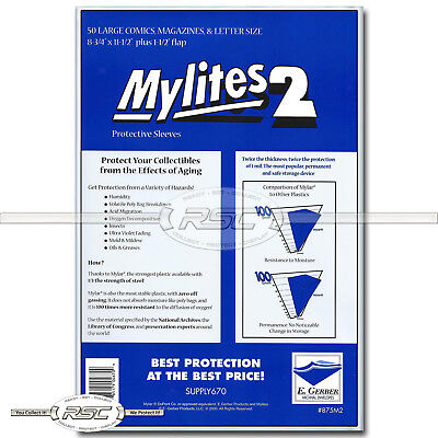 50 - Mylites 2 Large Comics, Magazines & Letters 2-Mil Mylar Bags Gerber - 875M2