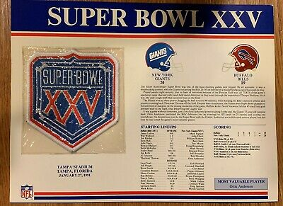 1991 New York Giants vs Buffalo Bills SUPER BOWL XXV Commemorative Patch