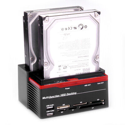 USB 2.0 DUAL 2.5″ 3.5″ IDE SATA Dual Hard Drive DISK DOCK HDD Docking Station