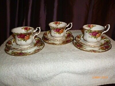 """Royal Albert """"old country roses"""" 3 lots of trios, cup, saucer & side plate"""
