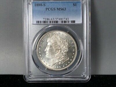 1888-S PCGS MS 63 Morgan Silver Dollar!Original Great Strike+Luster. White Coin