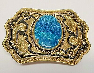 Classic Western Cowboy Belt Buckle Turquoise Gold Metal Vintage Men Women Buckle