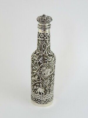 Rare & unusual elephant embossed INDIAN SILVER BOTTLE, c.1890 18cm tall 131g