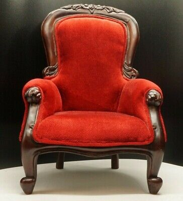 Antique Victorian Style Small Parlor Chair Red Velvet Mahogany Child Armchair