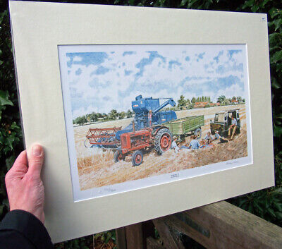 Ransomes 902 Combine, Nuffield Tractor, Land Rover  - Print by Steven Binks