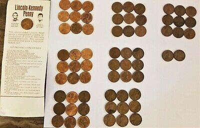 Lincoln Pennies Date Range 1950 - 1978 Nice Lot of  65  Different  PDS