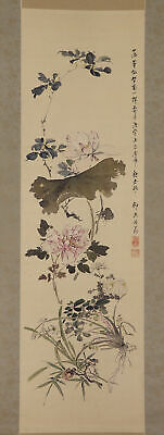 """JAPANESE HANGING SCROLL ART Painting """"Flowers"""" Asian antique  #E7751"""