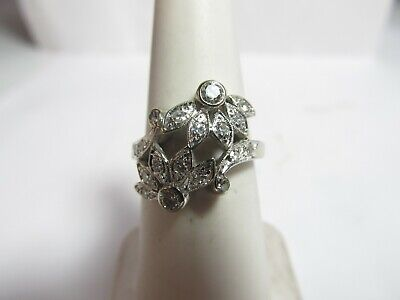 Vintage 14K Solid White Gold Ring With Unusual Design Of Natural Diamonds