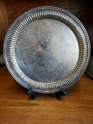 NewPort By Gorham Silver-Plate Round Tray  YB612 Etched Design 12.25 in.