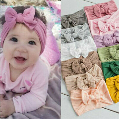 Trendy Girls Baby Toddler Turban Solid Headband Soft Hair Band Bow Accessories