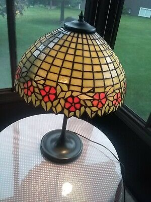 Duffner & Kimberly Arts & Crafts Unique Slag Stained Glass Lamp - Tiffany Era