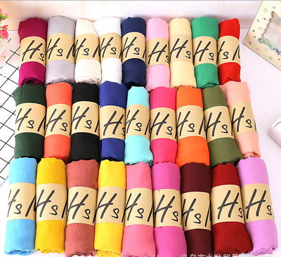 HOT Fashion Cotton Linen Mixed Crinkle Women Long Pure Color Scarf Wrap Shawl US