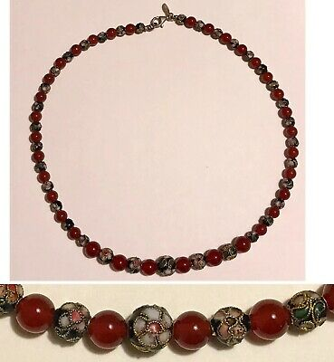 """Vintage Chinese JADE RED CARNELIAN & CLOISONNÉ Bead 17""""Necklace w/Sterling Lock"""