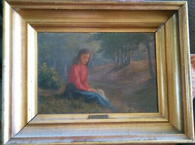 Rare Antique Danish Oil Painting Fritz Syberg Girl in Red + Blue Dress SIGNED