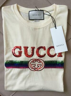 8b149991b6db GUCCI $990 2017 Pink Rainbow Striped Logo Sequin RINGER Shirt Top M.  $248.00 Buy It Now 24d 17h. See Details. Gucci T-shirts Size S