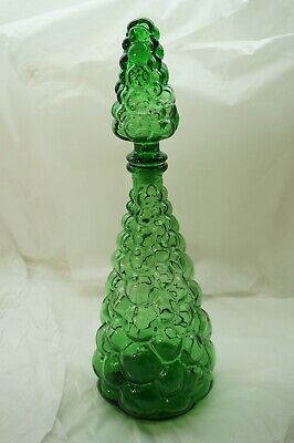 VINTAGE ITALIAN GLASS DECANTER WITH STOPPER GENIE BOTTLE GREEN 16in EMPOLI 1960s
