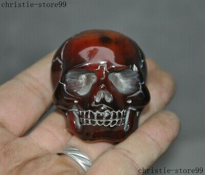 """2""""Chinese Buddhism old Ox Horn carved Exorcism skull head statue amulet Pendant"""