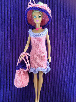 BARBIE doll clothes, NEW, hand knitted: dress, hat & bag in pink, mauve / purple