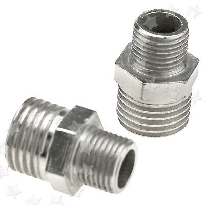 "2 x Iron Airbrush Hose Adaptor Connector 1/4"" BSP Male To 1/8"" BSP Male"