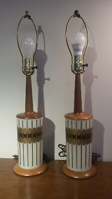 Vintage Pair Of Mid Century Modern Lamps With Smoke Grey