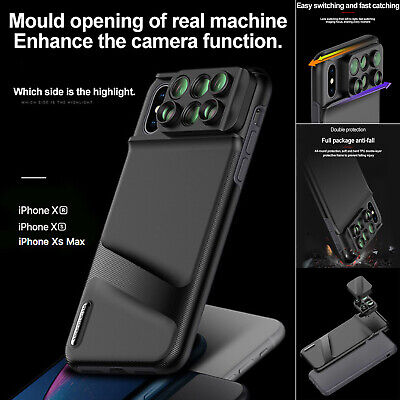 For iPhone XS Max XR Case 6 in1 Camera Lens Kit Fisheye Macro Wide Angle Lens