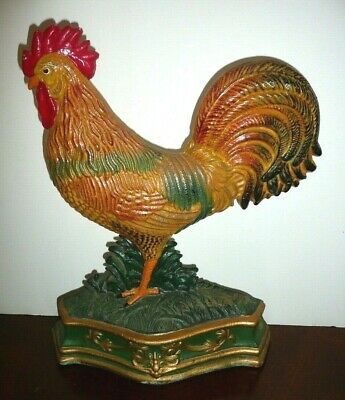 Rooster Cast Iron Door Stop Large Decorative Heavy Figure Country Farmhouse 13""