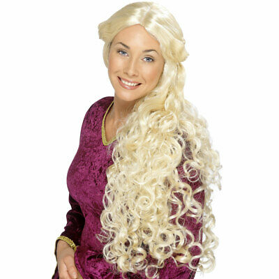 Long Blonde Curly Wig Medieval