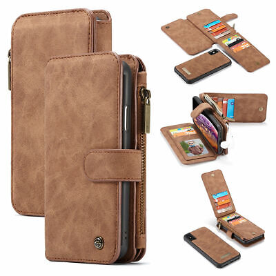 Wallet Case For iPhone X XS Max XR 6 7 8 Plus Leather Purse Magnetic Removable