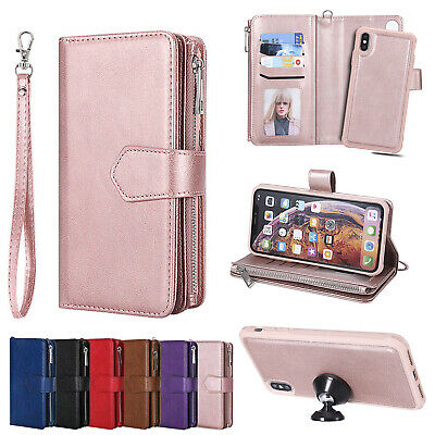 For iPhone XS Max XR X 7 8 6 6s Plus Removable Leather Zipper Wallet Case Purse
