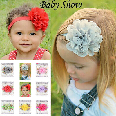UK Newborn Baby Girls Flower Hairban Bandd Wedding Parties Soft Bow Headband NCK