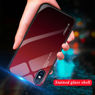 Back Gradient Case For iPhone X XS MAX XR 6 6S 7 8 Plus Tempered Glass Cover