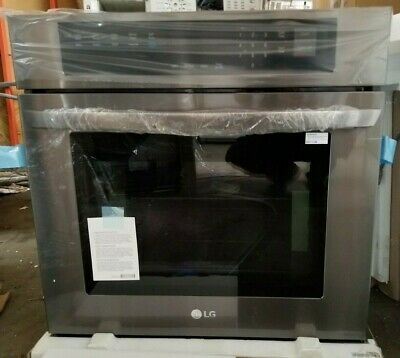 """LG - 30"""" Builtin Single Electric Convection Wall Oven Black stainless LWS3063BD"""