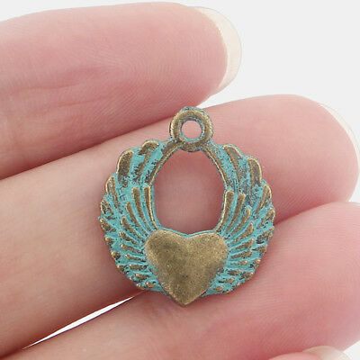 10 x Ancient Greek Bronze Double Angel Wings & Heart Charms Pendants 19*22mm