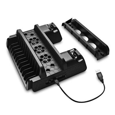PS4/ Slim/PS4 Pro Console Holder Dock Cooling Stand Dual Controller Charger
