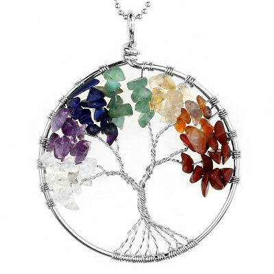 Tree of Life 7 Chips Bead Healing Chakra Pendant Charm for Necklace Chain New