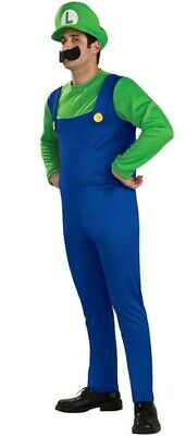 Mens Adult Kids Super Mario Luigi Bros Cosplay Fancy Dress Outfit Costume LARGE
