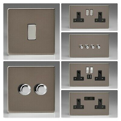 Varilight Screwless Pewter Light Switch Socket Dimmer Toggle Cooker Fuse Remote