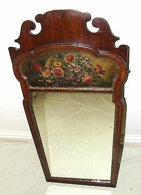 Antique Victorian Hand Painted Walnut Wall Mirror : Queen Ann Style (a66)
