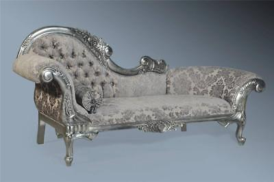 Large Antique Silver Pewter Chaise Longue Grey French Ornate Lounge Day Bed Sofa