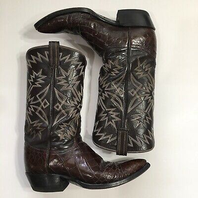 6e729186379 TONY LAMA BROWN Exotic Leather Cowboy Boots Mens Size 11 B Style ...