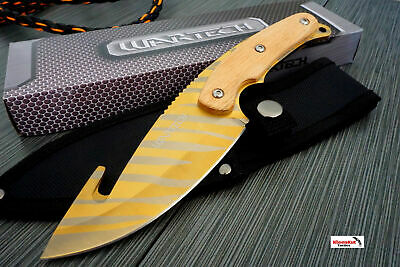 """9.5"""" Gold Tiger CSGO Hunting Knife Gut Hook w/ Wood Handle Full Tang Fixed Blade"""