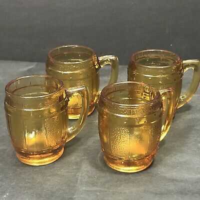 Vintage Amber Clear Mini Mugs Shot Glass Beer Barrel Toothpick Holder Set of 4
