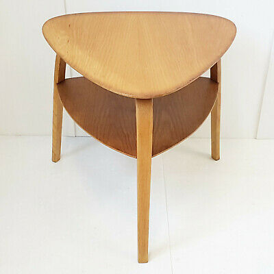 Coffee Table Pedestal Table Bow Wood Double Plate Steiner 1950 Vintage Years 50
