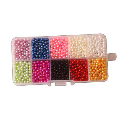 Multicolor ABS Plastic Bead Round Imitation Pearl Loose Beads No Hole Craft
