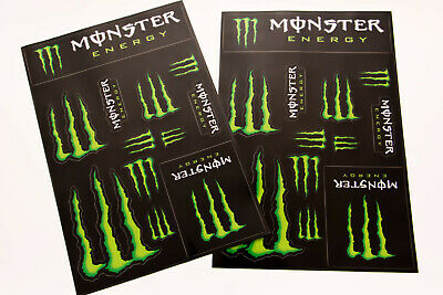 2 x Monster Energy Drink Logo Sheet of 12 Stickers Decals Super Glossy