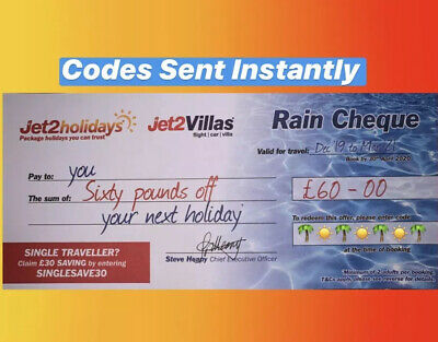 1 X Summer 2020 Jet2Holidays £60 Rain Cheque voucher - OCT 2020 new codes